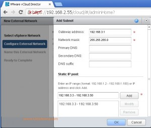 Enter the external network details