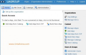 vCloud ORG - Home page