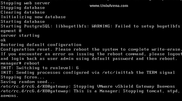 Rebooting the vSheild Manager