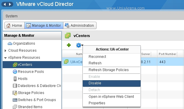 Select the vCenter and Disable