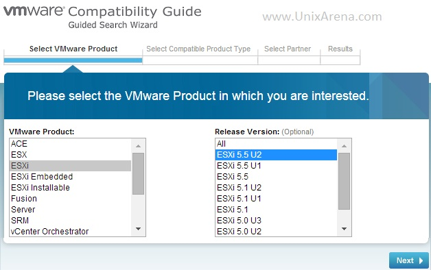 VMware Hardware Compatibility  -Select Product and Version