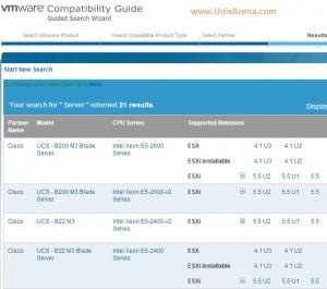 VMware Hardware Compatibility  - Results