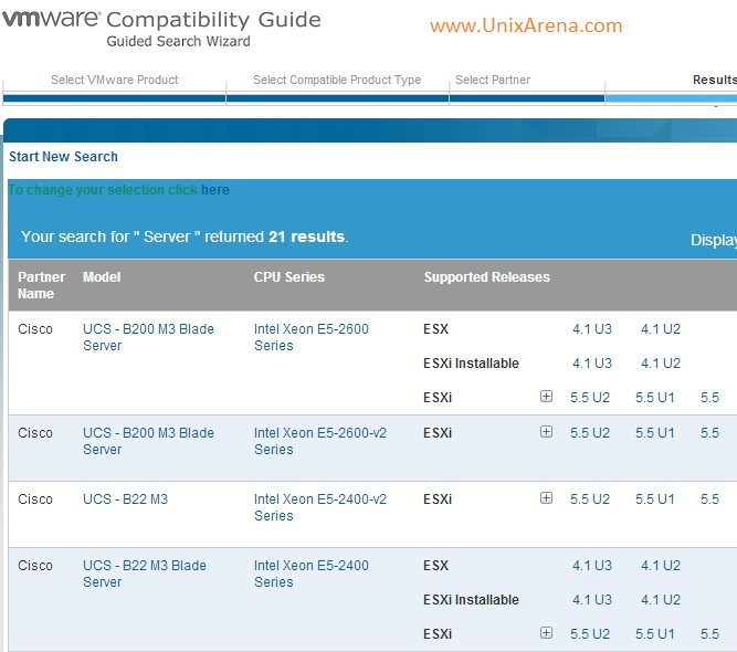 VMware Hardware Compatibility  - Results
