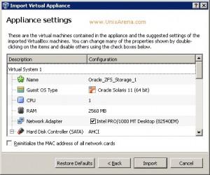 ZFS storage Appliance OVF settings