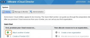 vCloud director is attached to vCenter Server