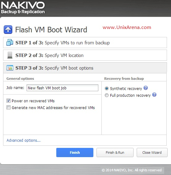 Specify the VM boot options