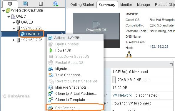Edit the VM Settings