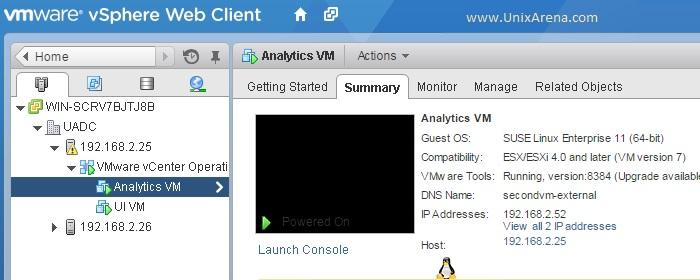 Analytics VM status