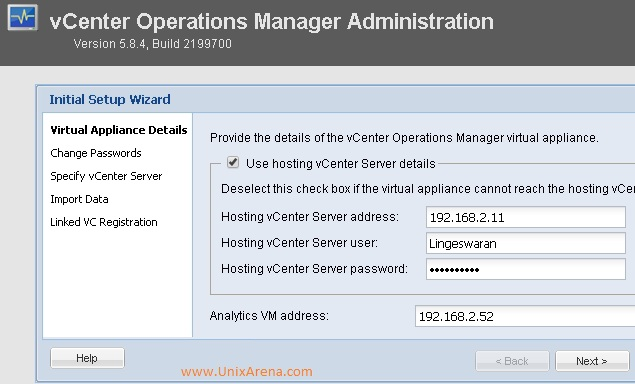 Enter the Appliance - vSphere info