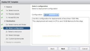 Select the deployment configuration size