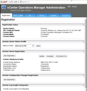 vCenter Operating Manager Administration
