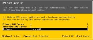 Enter the hostname & DNS server details