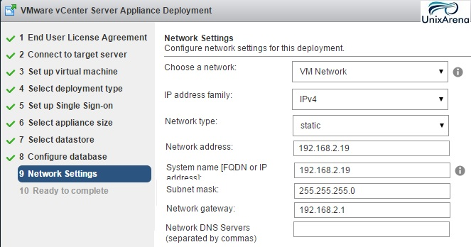 Network Settings for Appliance