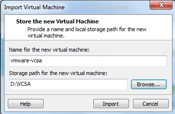 Storage path for VCSA
