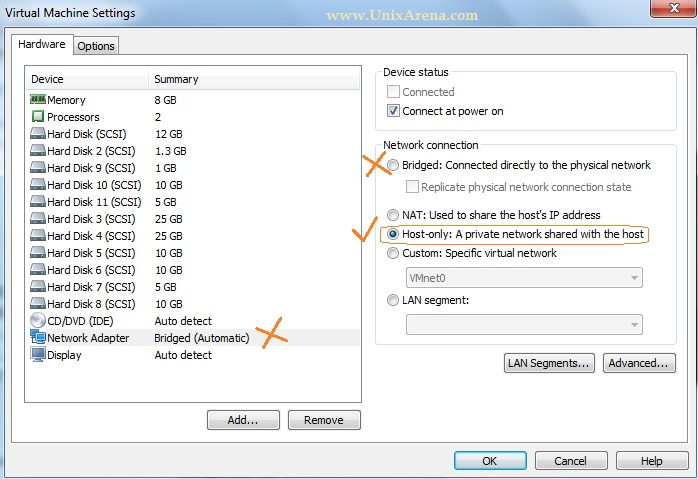 change the network settings of VM