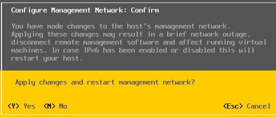 confirm for management network restart