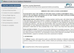 Accept the VCSA 6.0 License Agreement.