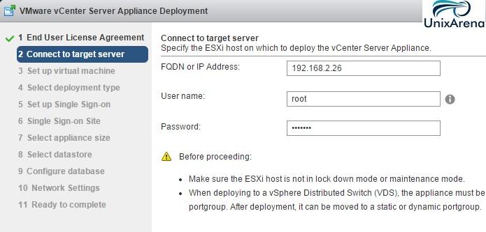 Enter the ESXi host details