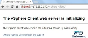 vSphere Client web server in intializing