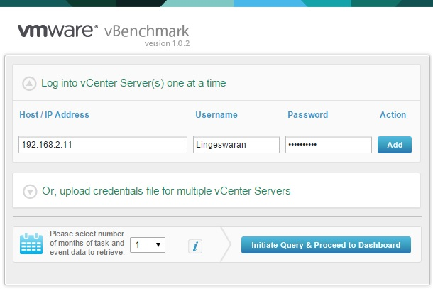 Enter the vCenter IP/Credentails