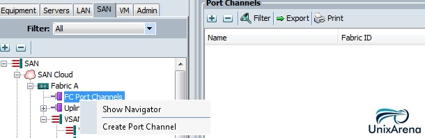 Configure port channel - SAN