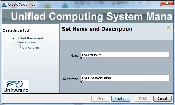 Enter the server Pool Name
