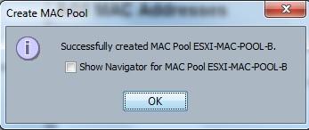 create MAC pool  - Fabric B