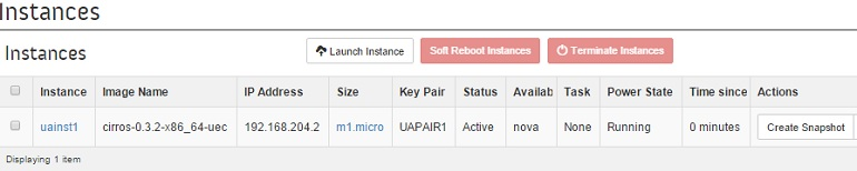Openstack Instance is up