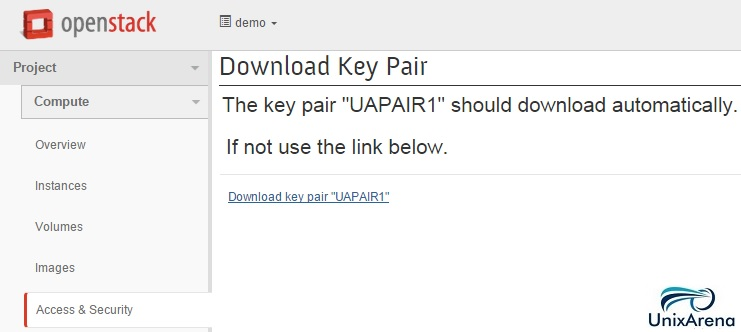 Download Key pair - Openstack