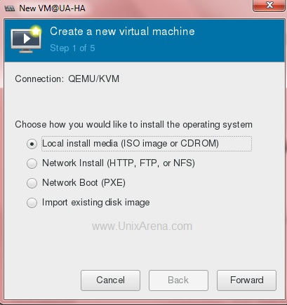 Select the KVM guest Installation source