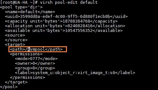 KVM storage pool - Linux