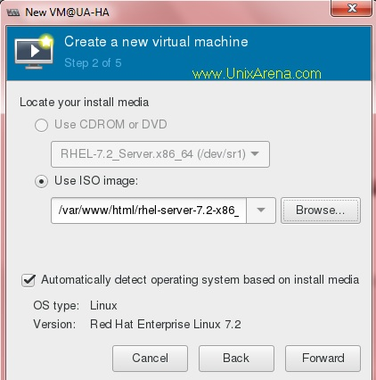 Specify the ISO image location - KVM guest