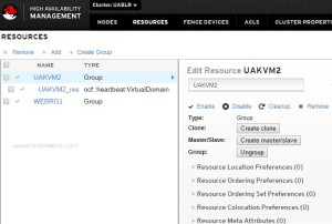 Pacemaker Resource Management tab