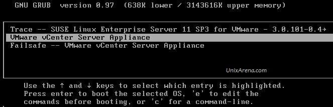 GRUB Menu VCSA 6.0