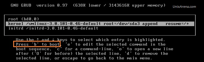 Press b to boot from new kernel value VCSA 6.0