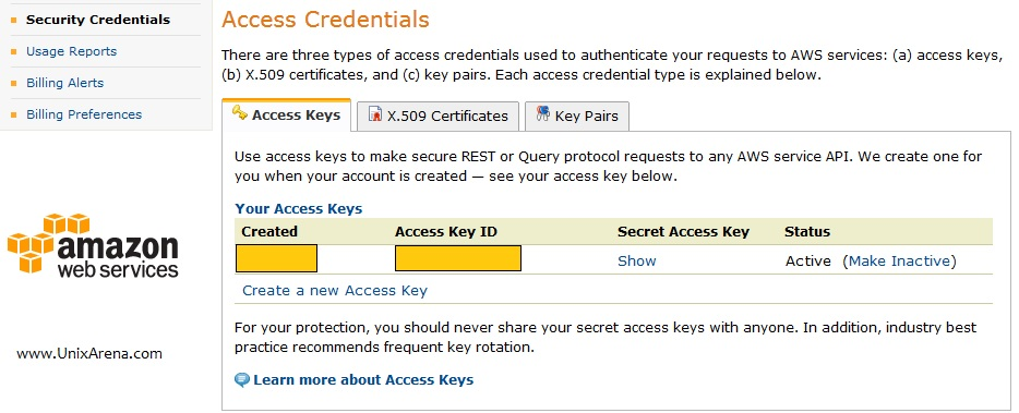 Get the Access Key ID from Amazone EC2