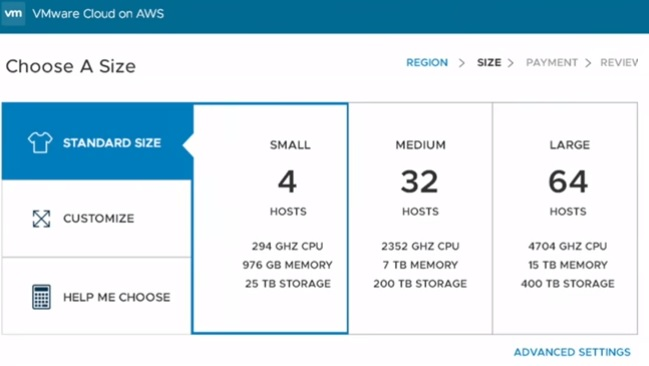 choose-a-size - VMware Cloud size