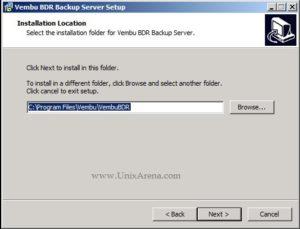 Vembu BDR install location