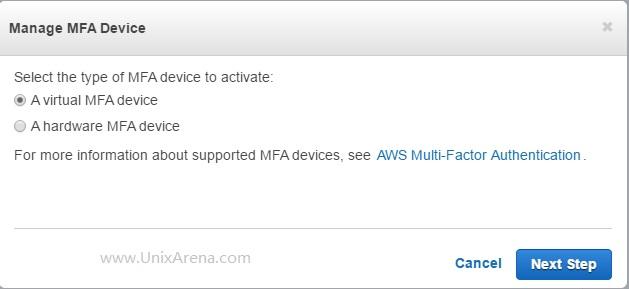 select-virtual-mfa-device-aws