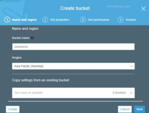 Enter Bucket Name and Select Region - AWS