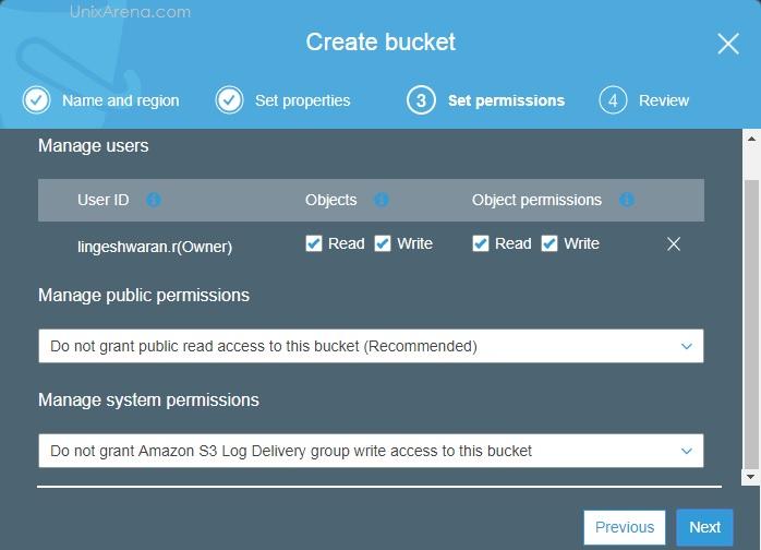 Permission - S3 Bucket AWS