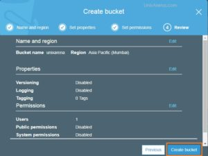 Review and Create new S3 Bucket