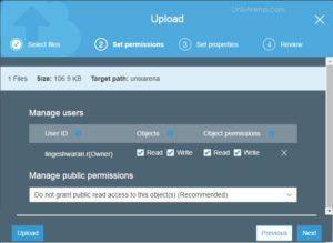 Set the Object permission - S3 AWS