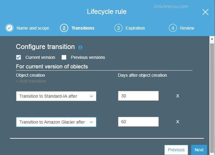 Configure Transition - S3 - Lifecycle Management