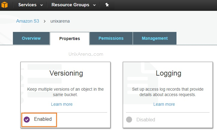 Enable Versioning - AWS S3 3