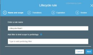 Enter Lifecycle Rule Name
