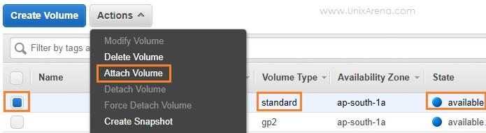Attach the new volume - AWS