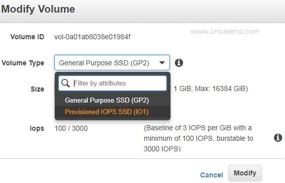 Change the volume type from SSD GP2 to SASD IO1