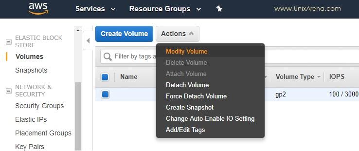 Click on Modify Volume - AWS