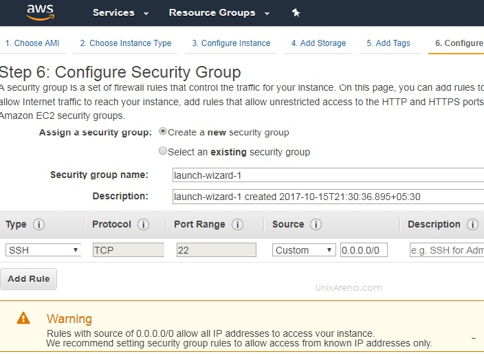 Configure Security Group - AWS instance